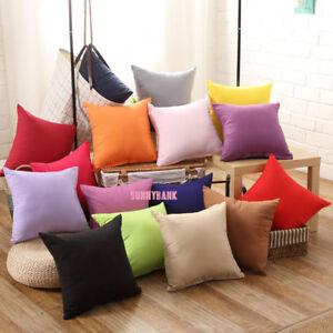 Plain Solid Colour Cushion Cover 100% Cotton Covers Canvas Throw Pillow Case