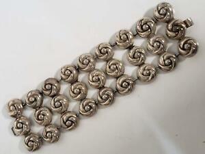 "Vintage Mexico Silver Wide 3 Row Rosette Cluster Link Bracelet 7.5"", 75 grams"