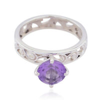 Good Gemstones Round Faceted Amethyst ring 925 Silver gift for friendship day UK