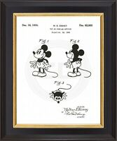Disney Vintage Mickey Mouse 1930 ArialPatent Top Of Head Print Fine Linen Paper