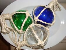 Pottery Barn Glass Buoys  S/3  BLUE GREEN WHITE   NEW
