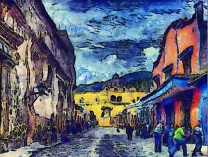 PAINTING GUATEMALA STREET COLONIAL BUILDING POSTER ART PRINT PICTURE BB1622B