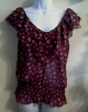 Miley Cyrus Junior's Size Med Beautiful Burgundy Floral Sleeveless Sheer Blouse