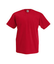 T-shirt uni homme col V manches courtes FRUIT OF THE LOOM  COULEUR ROUGE