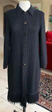 St John Sport by Marie Gray Black Knit Long Med Weight Coat, Size L
