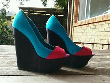 Novo size 6 wedge heel red blue black purple suede great condition FREE POSTAGE