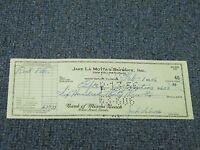Jake LaMotta Signed Autographed Cancelled Check