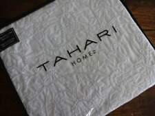 TAHARI WHITE Embroidered FLORAL COTTON Full QUEEN DUVET COVER Sham SET 3PC