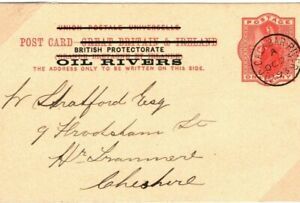 Nigeria OIL RIVERS QV Stationery Card *OLD CALABAR RIVER* CDS Ovpt 1893 SA.26