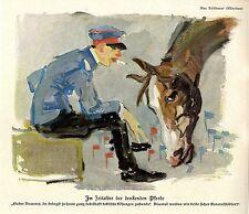 Max Feldbauer, München Im Zeitalter der denkenden Pferde Histor. Kunstdruck 1914