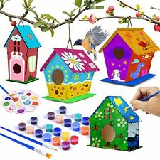 4 Pack hapray Bird House Kit Diy Birdhouse Kits Wooden Crafts Arts for Childr.