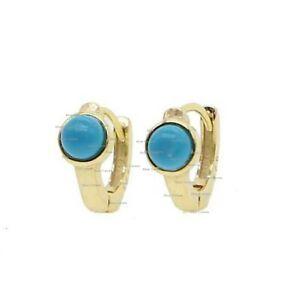 New 14k Yellow Solid Gold Turquoise Mini Hoops Huggies Earrings Fine Jewelry10mm