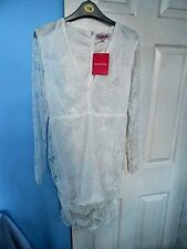 BNWT STUNNING PINK BOUTIQUE LACE LOOK WOMAN'S WHITE DRESS SIZE LARGE