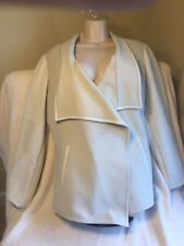 Beautiful Vince Beige Wool Blend And White Lamb Leather Draped Jacket S XL