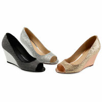 Brinley Co Womens Sanne Glitter Open toe Metallic Wedges New