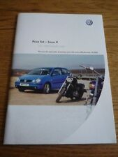 VW VOLKSWAGEN LUPO,POLO ,GOLF,BEETLE,BORA & MORE + 'EXTRAS' PRICES BROCHURE 2003