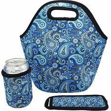 Neoprene Lunch Bag - Insulated Lunch Tote Bags (Paisley Design)