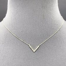 Fashionable Simple Classic Dainty Silver Metal V Shaped Pendant Necklace  N 9490