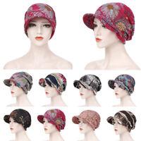 New Women Cotton Print Open Top Messy Bun Ponytail Knit Visor Beanie Skull Hat