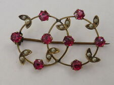 9ct Solid Rose Gold, Seed Pearl & Created Ruby Antique Vintage Eternity Brooch