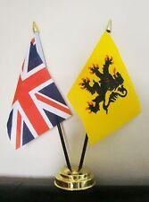 UNION JACK AND FLANDERS TABLE FLAG SET 2 flags plus GOLDEN BASE