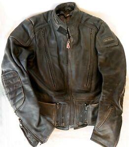 Vtg 1980's Hein Geriche heavy Leather motorcycle Jacket size 40 Korea Made Nice