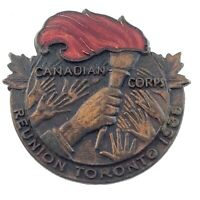 Canadian Corps Reunion Toronto 1938 Screw Back Lapel Pin 0.85in M681