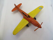 Vintage Hubley Kiddie Toy Die-cast Plane Folding Wings / Wheels Orange / Yellow