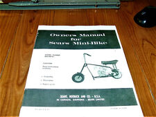 """WOW! VINTAGE MINIBIKE SEARS MINIBIKE1970s 6 PAGE OWNERS MANUAL  11"""" X 8 1/2"""""""