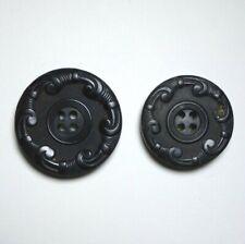 Bouton ancien - Corne noire pressée 30mm - XIXe - Black horn Button