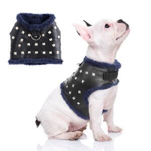 Pettorina a vestito per cane in cuoio piccola taglia e gatto Imbottito pile Nero