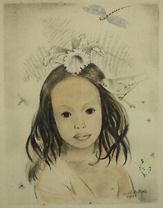Mariette LYDIS (1894-1970) fillette aux fleurs papillons libellule insectes 5/50