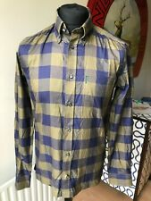 BEN SHERMAN PLECTRUM SHIRT SIZE MEDIUM BLUE CHECK COTTON LONG SLEEVE