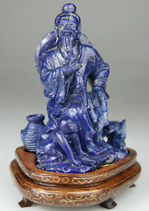 ANTIQUE CHINESE STATUE FIGURE SHOULAO LAPIS LAZULI CARVED WOOD STAND - QING 19TH