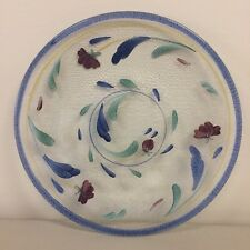 LENOX Hand-painted POPPIES ON BLUE Clear Glass PLATTER Cake Plate Round