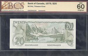 1979 $20.00 BC-54c BCS UNC-60 ** Multicoloured BEAUTY Canada QEII Twenty Dollars