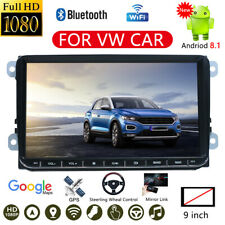 "9"" Double 2 Din Android 8.1 Car Stereo Radio FM MP5 Player Sat Nav GPS BT For VW"
