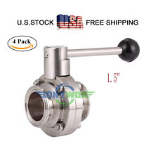 """1.5"""" Sanitary Butterfly Valve with Tri-Clamp Cover 304 Stainless Steel 4pack"""