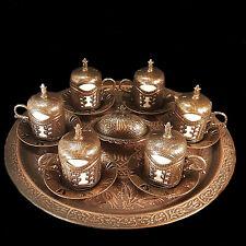 Ottoman Turkish Bronze Br Tea Coffee Saucers Cups Tray Set Top Uk Er