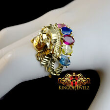 10K SOLID YELLOWGOLD NATIVE AMERICAN INDIAN APACHE MULTI COLOR CREATED GEM STONE