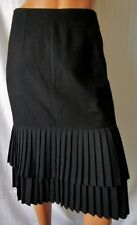 ***EVENTI GONNA SKIRT TG.42 vintage in lana 100% due balze plissettate  nero