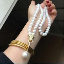 """HUGE AAA 9-10MM NATURAL SOUTH SEA WHITE PEARL NECKLACE LENGTH  30"""" + PENDANT"""