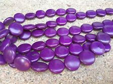 """15"""" 20mm Purple puffed coin magnesite gemstone beads - large size"""