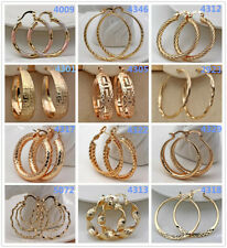 18K Gold Filled-Hollow Swirl Round Hoop Stud Earrings Bohemia 36 Style to Choose