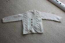 New Cream Aran handknit buttoned cardigan 8 to 9 yr 30 inch chest 20 inch long