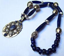 Ancien Collier Argent et Pâte de verre Médaillon ouvragé Lapis-lazuli Inde