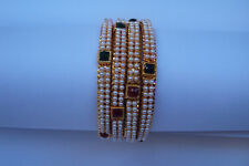 Ethnic 4 PC Gold Plated Jewelry Fashion Indian Pearl Bangles Bracelets Set