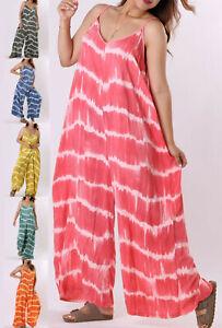 Ladies Italian Tie Dye Jumpsuit Womens Oversized Romper Playsuit Harem Plus Size