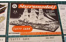 "1953 Vintage Original Micromodels Set S4 Clipper Ship ""CUTTY SARK"" 2/6d"