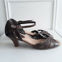 BHS Brown Leather Open Toe Mid Stacked Heeled Sandals Ankle Strap Sz 6 / 39